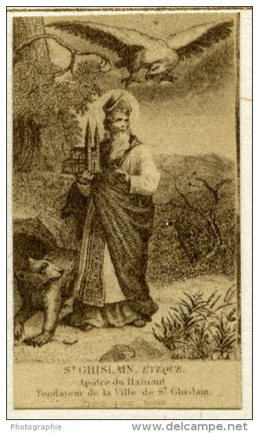 France Religion Image Pieuse Canivet Saint Ghislain Photo Albumine Sur Papier Saudinos 1880 - Devotion Images