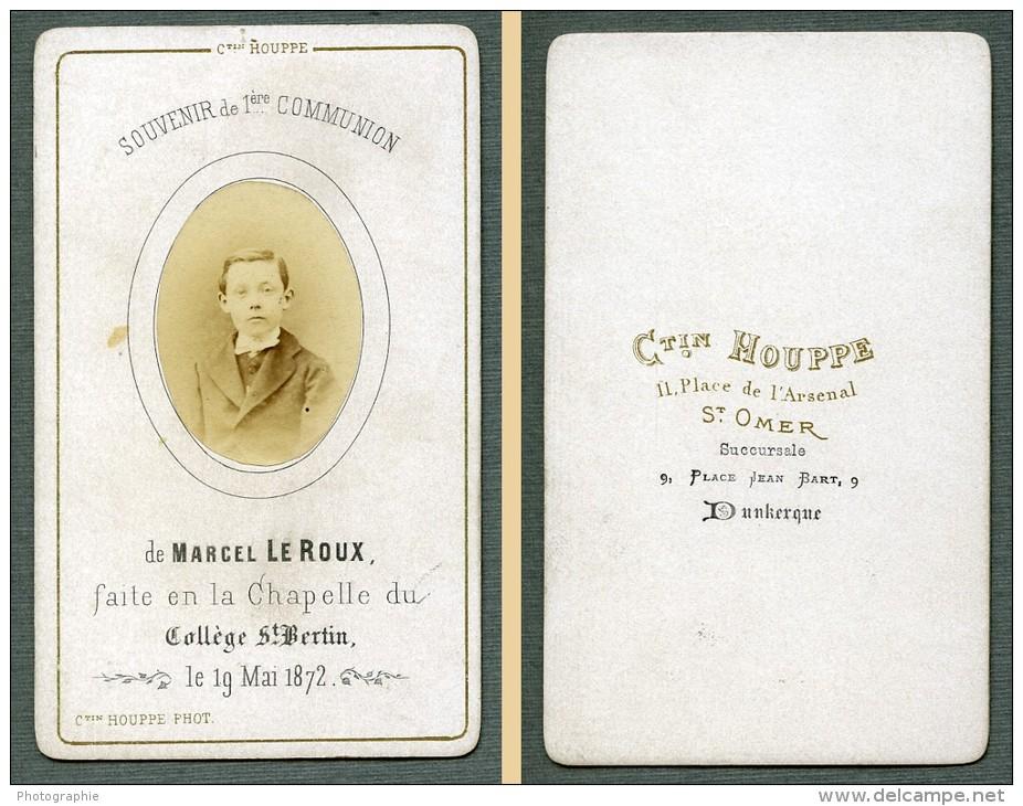 France St Omer Religion Image Pieuse Canivet Communion Photo Albumine Sur CDV Houppe 1872 - Devotion Images