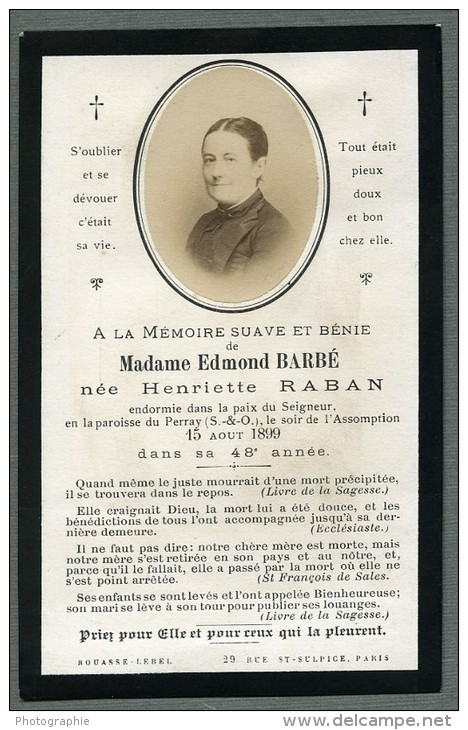France Religion Image Pieuse Canivet Post Mortem Henriette Raban Old Photo Bouasse 1899 - Devotion Images