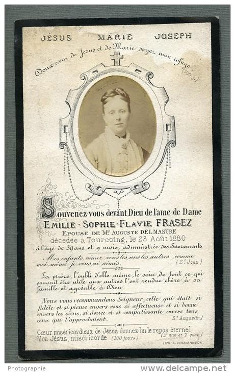 France Tourcoing Religion Image Pieuse Post Mortem Emilie Frasez Ancienne Photo Sur Papier 1880 - Devotion Images
