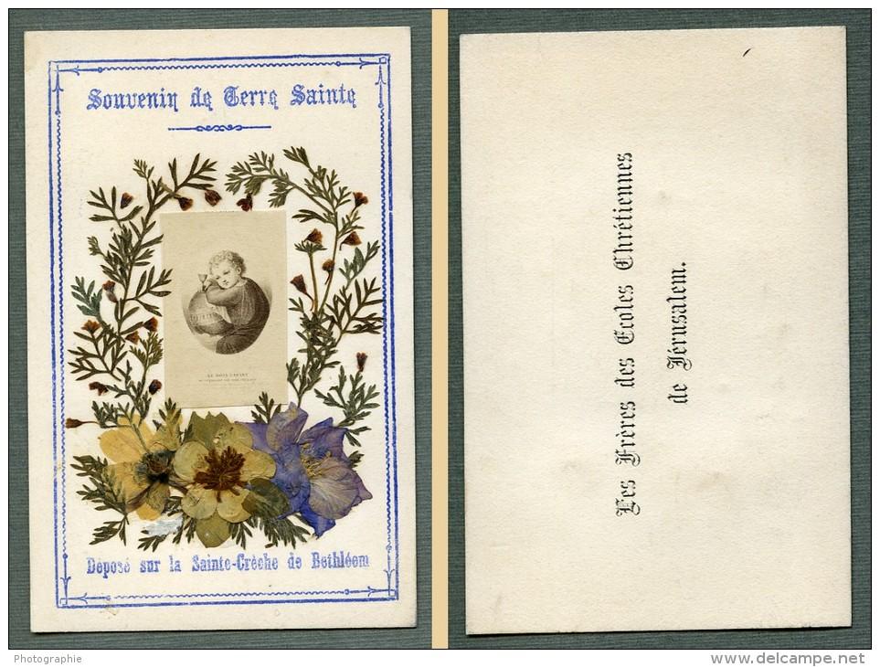 France Religion Image Pieuse Canivet Terre Sainte Souvenir Photo Albumine Sur Papier 1880 - Devotion Images