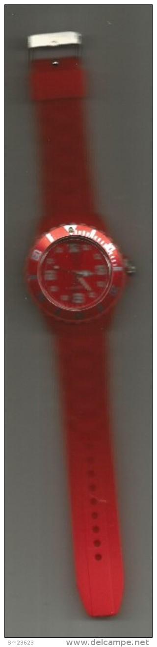 Moderne Plastik  Quarz  Uhr In  Rot - Länge Armband Ca. 25 Cm - Durchmesser Uhr Ca. 4 Cm - - Watches: Modern