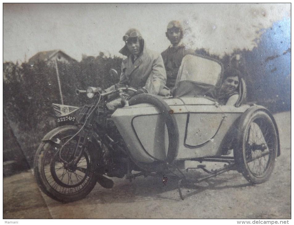 Photo Side Car 11x8cm Noir Et Blanc Personnages A Identifier- - Autres