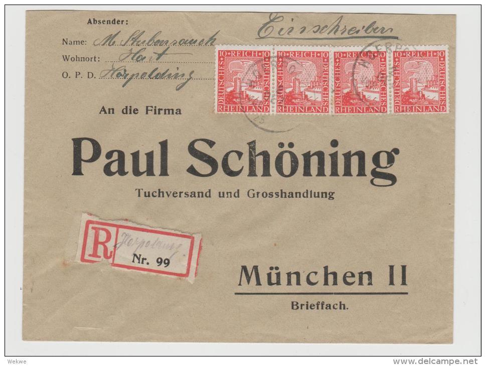 W242/ Rheinland 10 Pfg. Im 4-er Streifen Und Provisorischem R-Zettel Harpolding - Duitsland