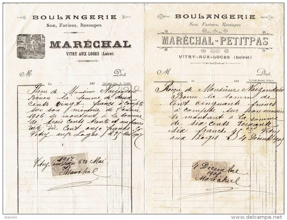 2 Factures De 1905 - MARECHAL PETIT PAS - Boulangerie  à VITRY Aux LOGES - Petits Métiers