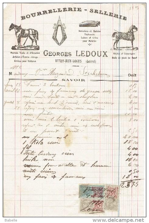 Facture De 1922 - Georges LEDOUX - Bourrellerie-Sellerie  à VITRY Aux LOGES - Petits Métiers