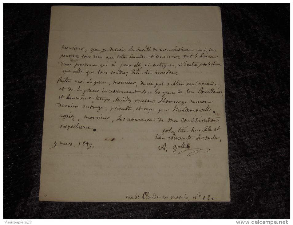 LAS Lettre Autographe Signée Augustine GOTTIS (1776-1857) Au Comte Simeon - 1829 - Autographes
