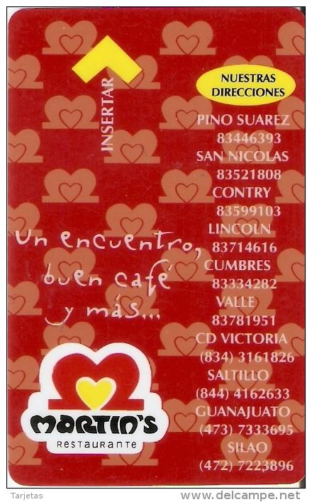 TARJETA DE HOTEL DE MEXICO PUBLICIDAD MARTIN'S RESTAURANTE  (KEY CARD-LLAVE) - Cartas De Hotels