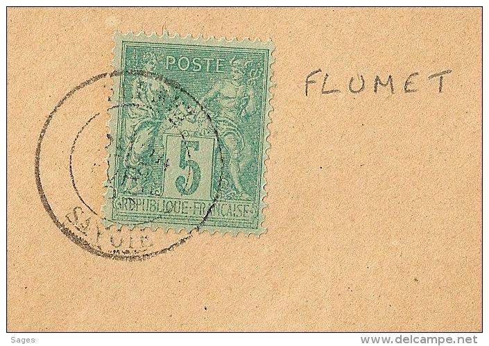 Tarif Papiers D'affaire, FLUMET Savoie Sur Devant De Grande Enveloppe Au Type SAGE. - 1877-1920: Période Semi Moderne