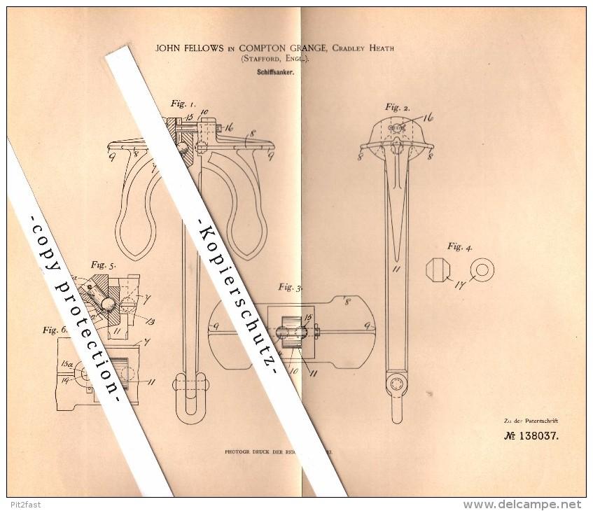 Original Patent - John Fellows In Compton Grange , Stafford , 1902 , Ship Anchor !!! - Boats