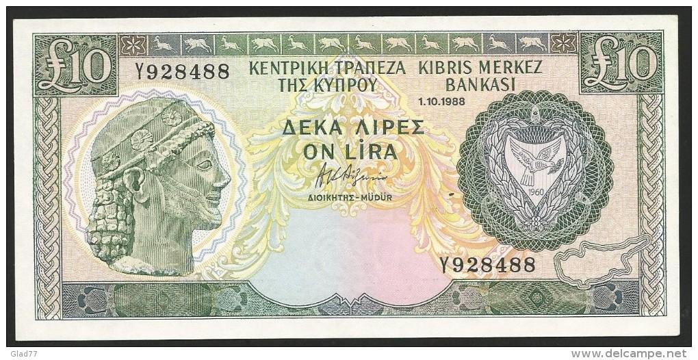 Ten Pounds 1.10.1988 GEM UNC! (perfect Note!). - Cyprus