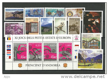 Année Complète 2005. 16 T-p Neufs ** (avec Hautes Faciales Et Feuillet) Yv. 604/619 - Andorra Francese