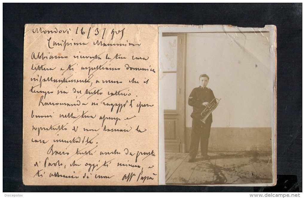 N772 VERA FOTOGRAFIA DI MILITARE SU INTERO POSTALE CON TONDO RIQUADRATO MONDOVI PIAZZA 1905 - MILITARY - Guerre, Militaire