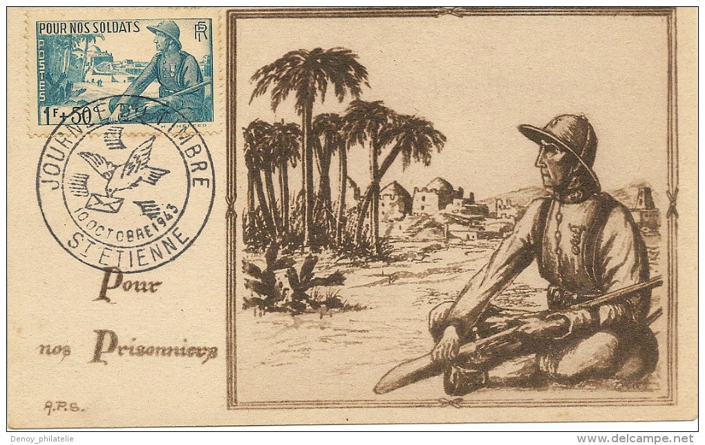 Deux Cartes Journée Du Timbres1943 (pour Nos Prisonniers 451 452) Saint étienne , Carte Numérotée  Beau Document - Postmark Collection (Covers)