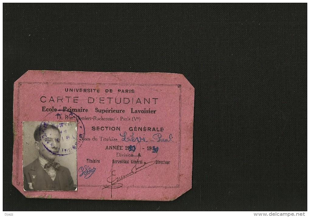 Carte Etudiant Ecole Primaire Supérieure Lavoisier - Diploma & School Reports