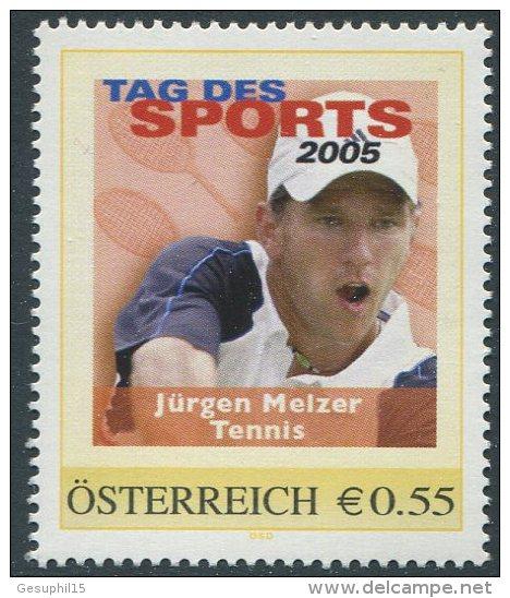 ÖSTERREICH / PM Tag Des Sports 2005 / Jürgen Melzer - Tennis / Postfrisch / MNH /  ** - Personalisierte Briefmarken