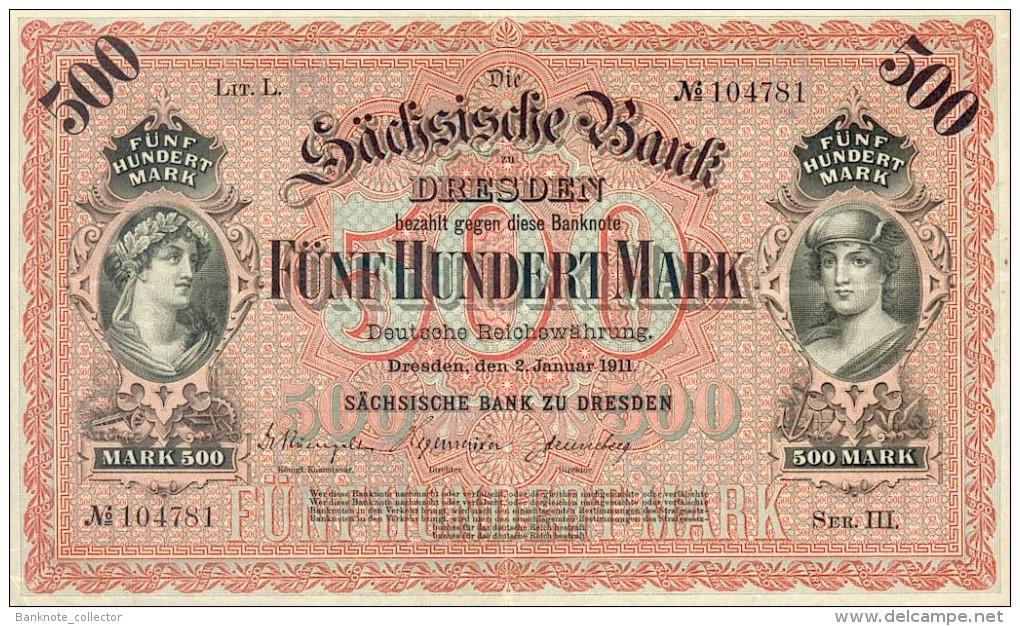 Deutschland, Germany, Sächsische Bank - 500 Mark,  ( Ro.: SAX 9 A, LIT. L., Ser. III ) XF, 1911 ! - Collezioni