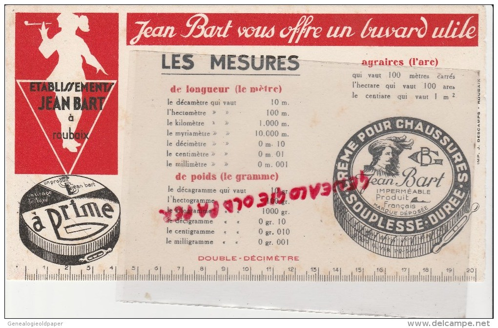 59 - ROUBAIX - BUVARD JEAN BART - CIRAGE DE LUXE A PRIME- CHAUSSURES - LES MESURES - Buvards, Protège-cahiers Illustrés