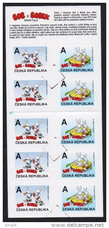 CESKA CZECH 2015 - BOB & BOBEK, Hockey & Rowing, Children Cherecters, Booklet Of 10 Stamps MNH (SPECIMEN) - Blocks & Sheetlets