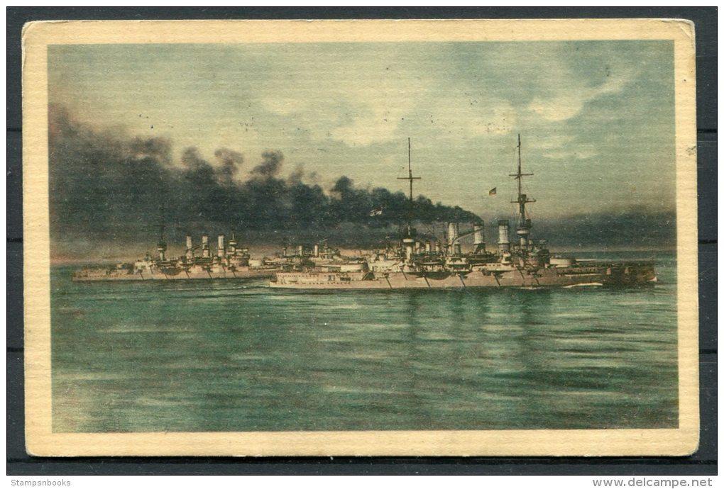 1916 Germany Deutscher Flotten Verien Postcard Chemnitz - Breslau - Warships