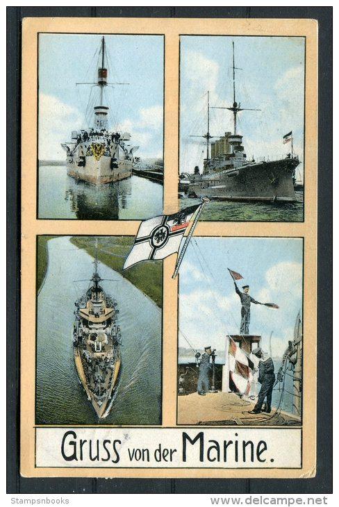 1913 Germany Gruss Von Der Marine Deutsche Marine Wilhelmshaven Warship Postcard - Berlin - Warships