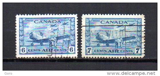 Canadá   1942-43  .-   Y&T  Nº    7/8    Aéreo - Posta Aerea