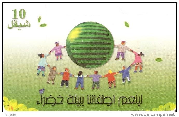 TARJETA DE PALESTINA DE 10 UNITS DE UN CORRO DE NIÑOS DEL AÑO 2000 - Palestina