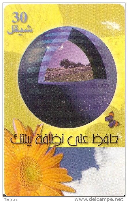 TARJETA DE PALESTINA DE 30 UNITS CON UNA MARIPOSA Y FLOR DEL AÑO 2000 - Palestina