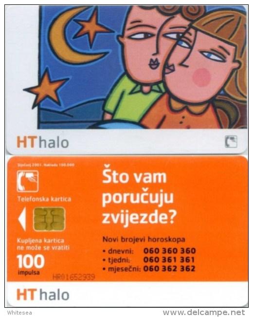 Telefonkarte Kroatien - Sterne , Mond - Hallo  - 100 Units - Kroatien
