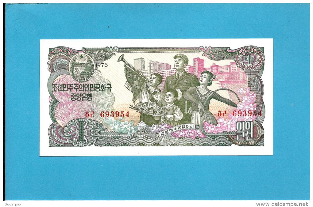 KOREA, NORTH - 1 WON - 1978 - P 18.c - UNC. - RED Serial # - RED Seal - For Non-Socialist Visitors - 2 Scans - Corée Du Nord