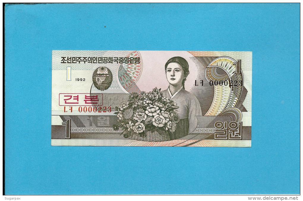 KOREA, NORTH - 1 WON - 1992 - P 39.s - UNC. - SPECIMEN - 0000223 - Low Number - 2 Scans - Corée Du Nord