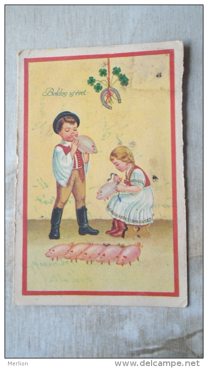 New Year Card Hungary  Many Balloon Piglets Pig  - D131113 - Cochons