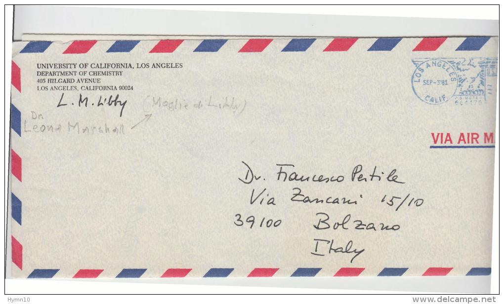 """E61-1981 Airm Mail Cover With Autograph """"L.M.LIBBY """" Wife Nobel Prize W.F.LIBBY - Autogramme & Autographen"""
