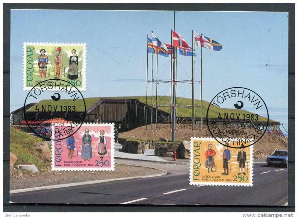 1983 Faroe Islands NORDFRIMEX Stamp Exhibition Thorshavn National Dress Costumes Maxicard - Faroe Islands