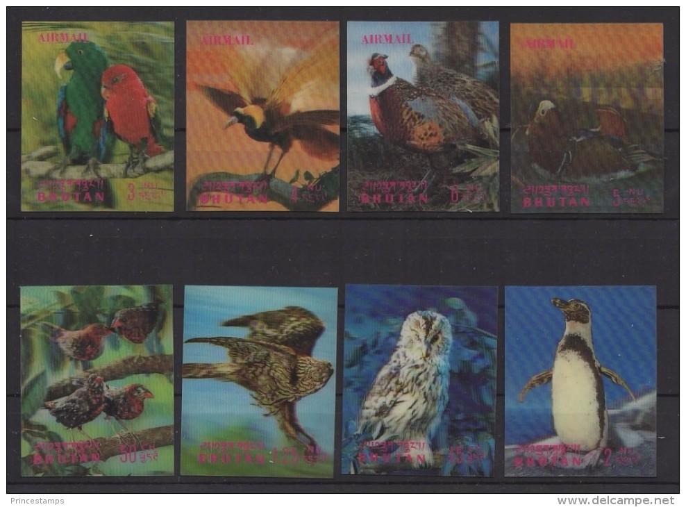 Bhutan (1969) Yv. 235/38 + Av. 54/57  /  Fauna - Birds - Oiseaux - Vogel -Pinguin - Owl - Vogels