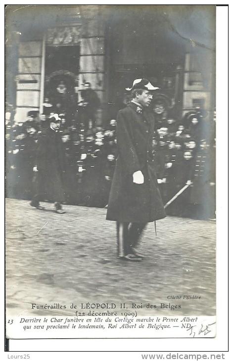 ! - Belgique - Le Prince Albert Suivant Le Char Funèbre Aux Funérailles De Léopold II - Funérailles