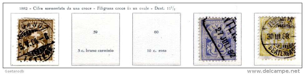 Svizzera--MF-0016 - 1882 - Valori Della Serie Y&T: N. 58/62 (o) - Privi Di Difetti Occulti. - Gebraucht
