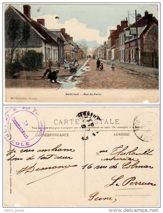 Saint Just - Rue De Paris ( Cachet Militaire Au Verso ) - Saint Just En Chaussee