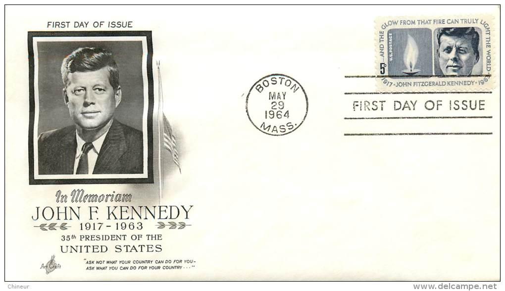 PREMIER JOUR JOHN F.KENNEDY AVEC COURRIER ADRESSE AU CENTRE CULTUREL AMERICAIN PAR DAVID L.STRATMON DIRECTEUR - Ersttagsbelege (FDC)