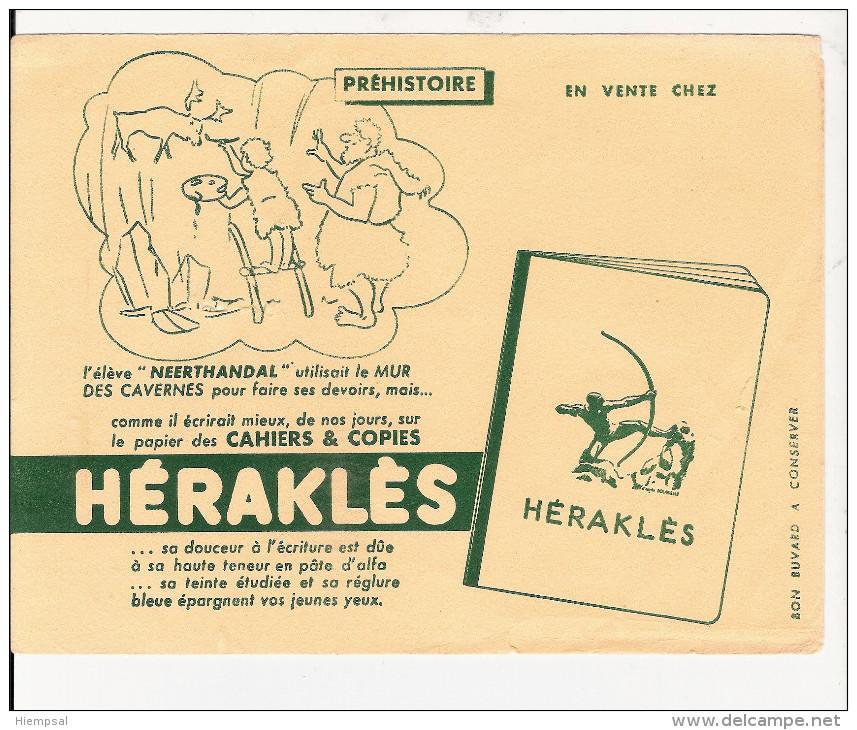 BUVARD  PUBILICITE  POUR  CAHIER   HERAKLES   (  PREHISTOIRE ) - Papel Secante