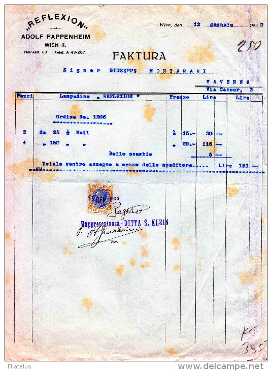 "VIENNA-12-1-1932-DITTA ""REFLEXION"" DI ADOLF PAPPENHEIM-FATTURA-RAPPRESENTANZA -DITTA S. KLEIN-LIRE 5 - Austria"
