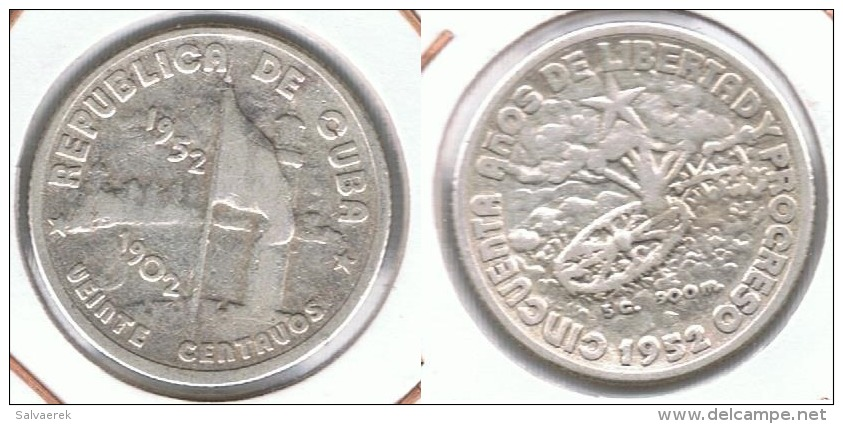 CUBA 20 CENTAVOS PESO 1952 PLATA SILVER - Cuba