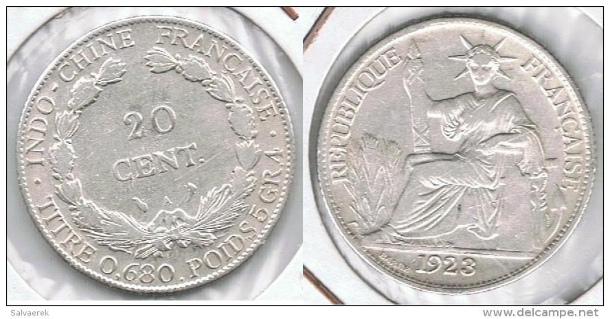 INDOCHINA VIETNAM FRANCIA 20 CENT PIASTRA 1923 PLATA SILVER PARIS - Vietnam