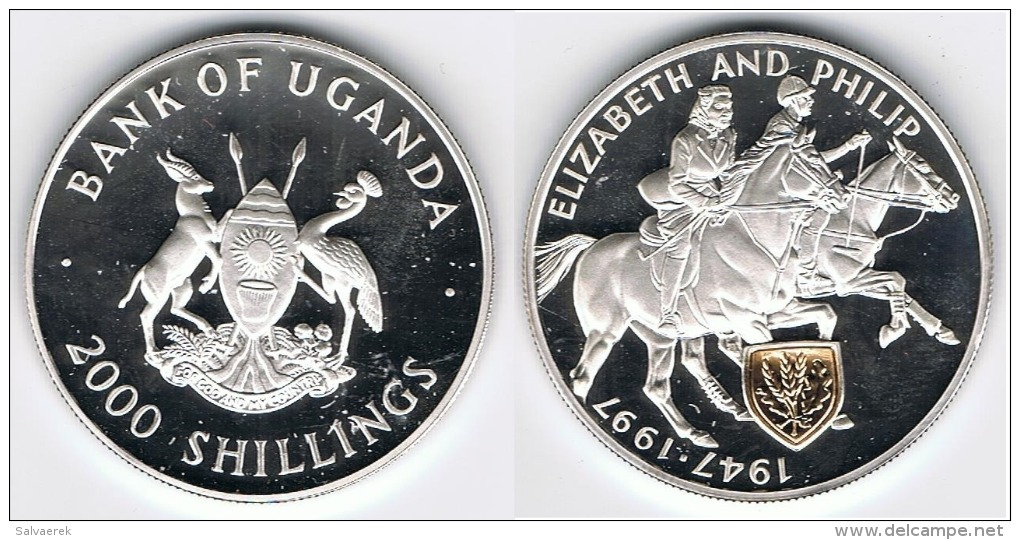 UGANDA 2000 SHILLINGS 1997 PLATA SILVER GOLD - Ouganda