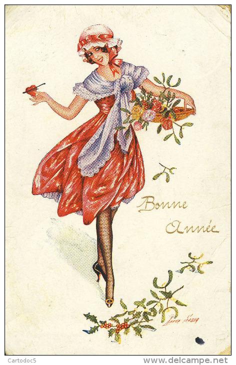 Bonne Année  Jolie Femme  Branche De Houx Et De Gui  Illustrateur  Xavier Sager Cpa - Nouvel An