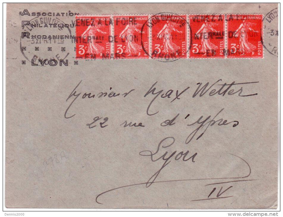 1936- Enveloppe Ouverte D'imprimés Affr. Bande De 5  Semeuse 3 C. N°278 A - Postmark Collection (Covers)