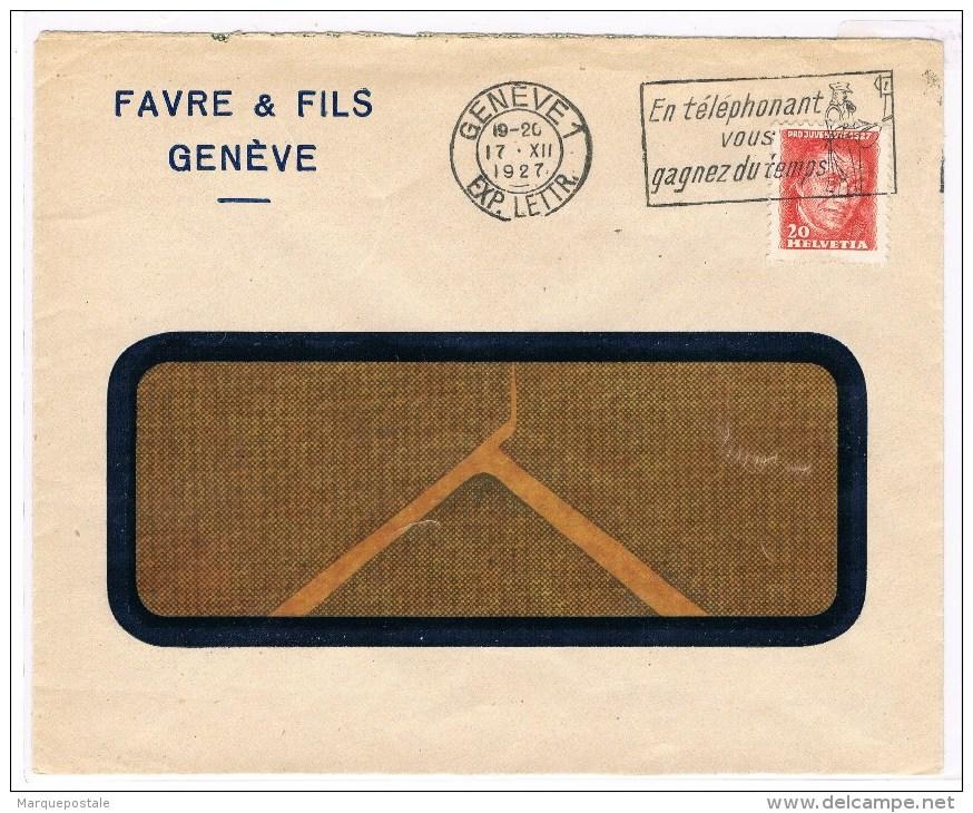 T8. Flamme: En Téléphonant Vous Gagnez Du Temps. Genève 17.12.1927. =  Pro Juventute 1927. - Pro Juventute