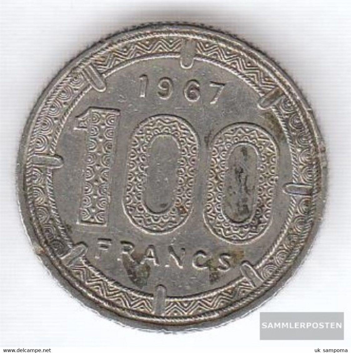 Equatorial-Africa-States Km-number. : 5 1967 Very Fine Nickel Very Fine 1967 100 Francs Antelope - Other - Africa