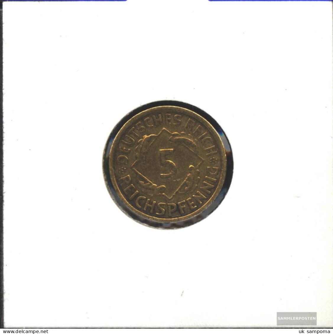 German Empire Jägernr: 316 1935 D Extremely Fine Aluminum-Bronze Extremely Fine 1935 5 Reich Pfennig Spikes - Vatican