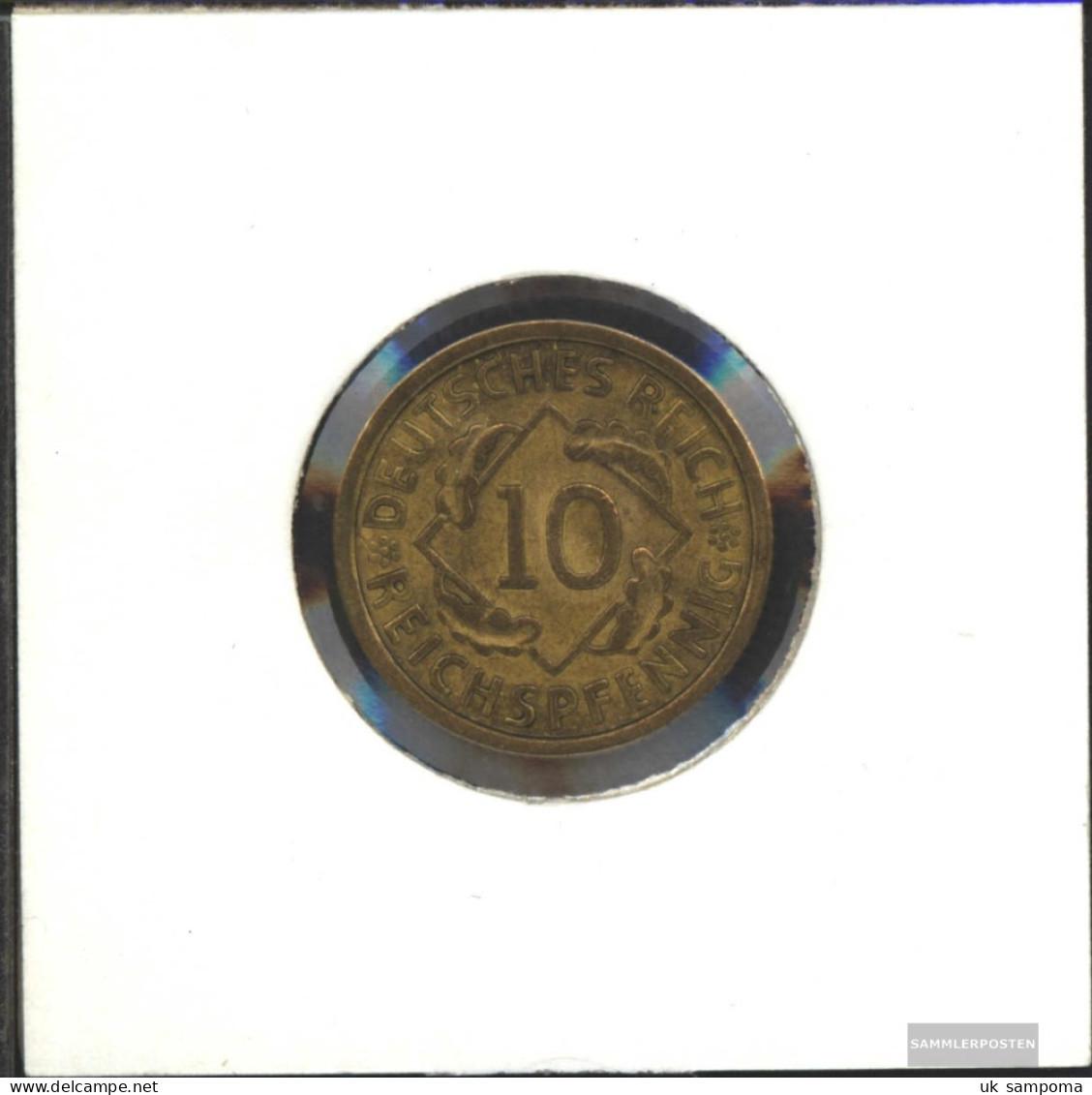 German Empire Jägernr: 317 1924 A Very Fine Aluminum-Bronze Very Fine 1924 10 Reich Pfennig Spikes - Yugoslavia